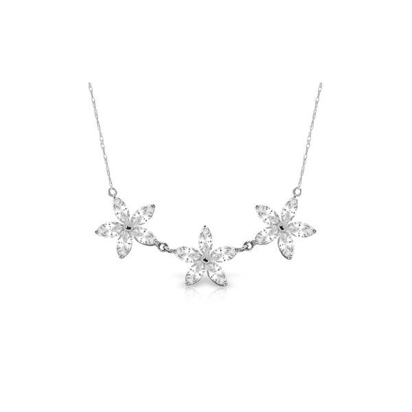 Genuine 4.75 ctw White Topaz Necklace 14KT White Gold - REF-61M2T