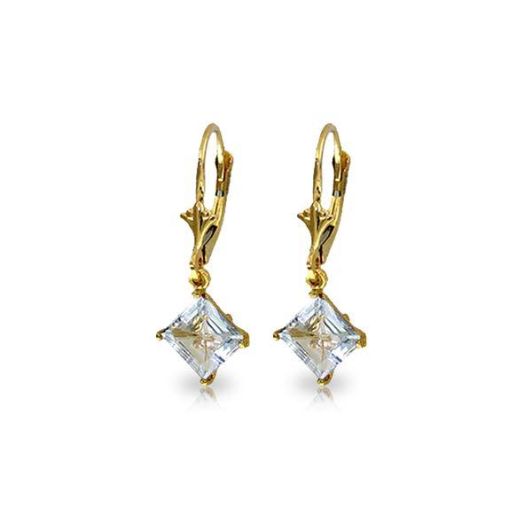Genuine 3.2 ctw Aquamarine Earrings 14KT Yellow Gold - REF-39N4R