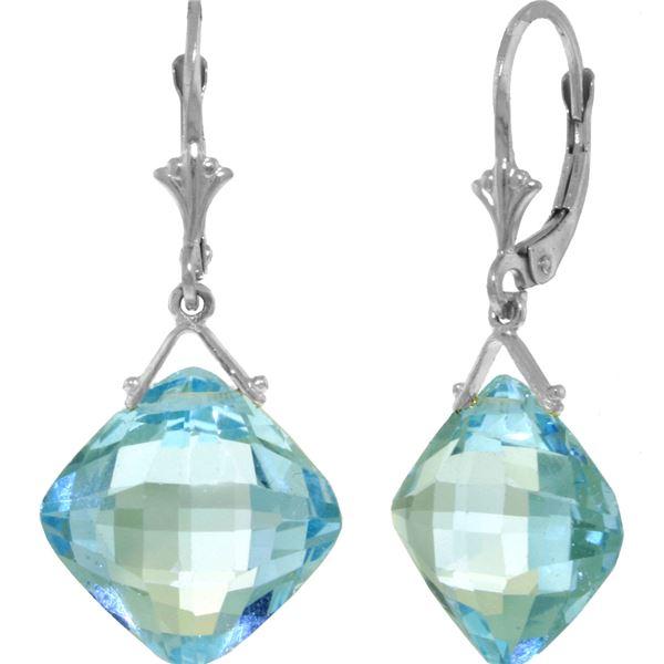 Genuine 17.5 ctw Blue Topaz Earrings 14KT White Gold - REF-36Z3N