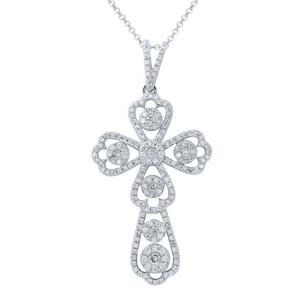 Natural 0.70 CTW Diamond Necklace 14K Gold - REF-92W7H