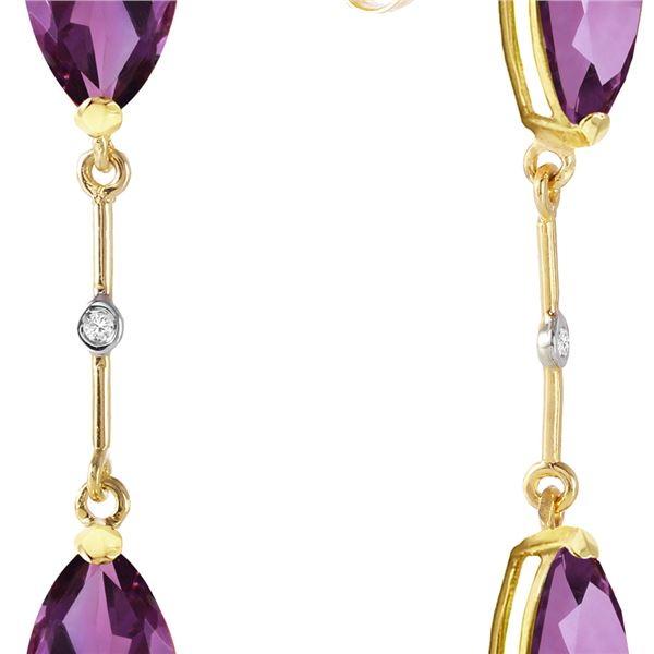 Genuine 6.01 ctw Amethyst & Diamond Earrings 14KT Yellow Gold - REF-42P4H