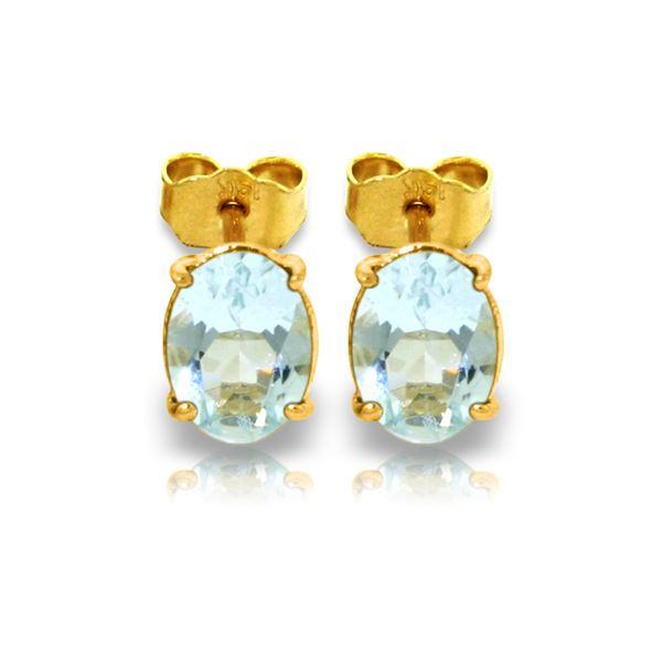 Genuine 1.80 ctw Aquamarine Earrings 14KT Yellow Gold - REF-21A2K