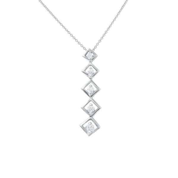 Natural 0.25 CTW Diamond Necklace 14K White Gold - REF-52F2M