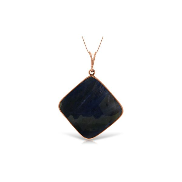 Genuine 21.75 ctw Sapphire Necklace 14KT Rose Gold - REF-77P2H