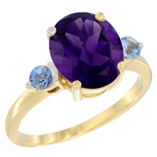 2.64 CTW Amethyst & Blue Sapphire Ring 14K Yellow Gold - REF-32M3K