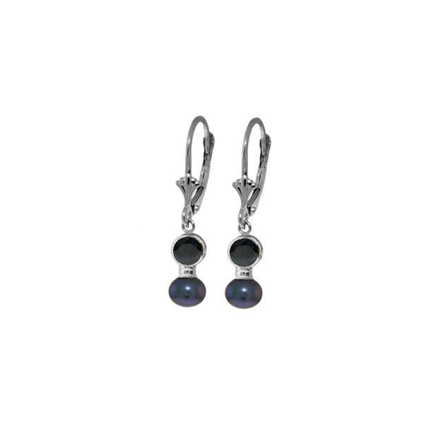 Genuine 5.2 ctw Sapphire & Black Pearl Earrings 14KT White Gold - REF-27Y4F