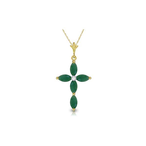 Genuine 1.65 ctw Emerald & Diamond Necklace 14KT Yellow Gold - REF-40R5P