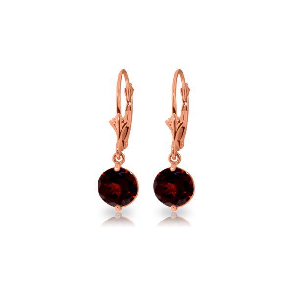Genuine 3.1 ctw Garnet Earrings 14KT Rose Gold - REF-34F3Z