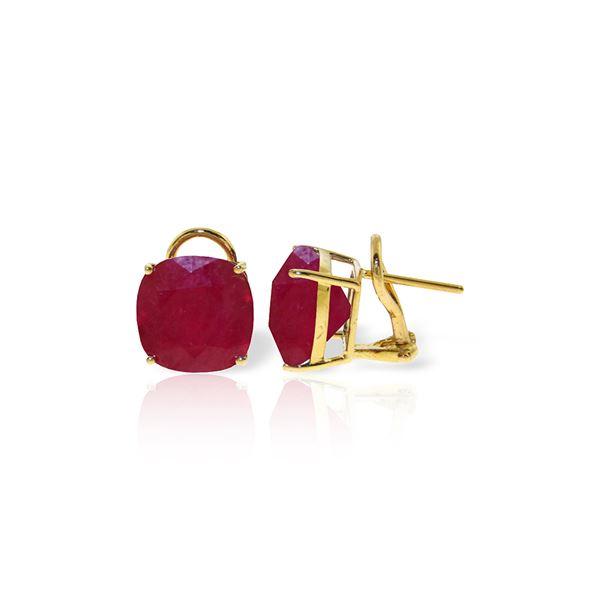 Genuine 13.5 ctw Ruby Earrings 14KT Yellow Gold - REF-118X2M