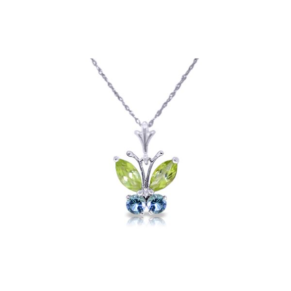 Genuine 0.60 ctw Peridot & Blue Topaz Necklace 14KT White Gold - REF-23P5H