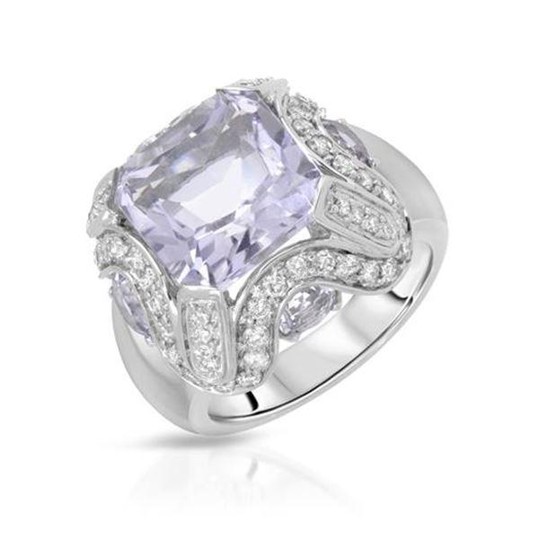 Natural 7.84 CTW Amethyst & Diamond Ring W=16MM 18K Gold - REF-136W8H