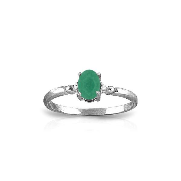 Genuine 0.51 ctw Emerald & Diamond Ring 14KT White Gold - REF-30W5Y