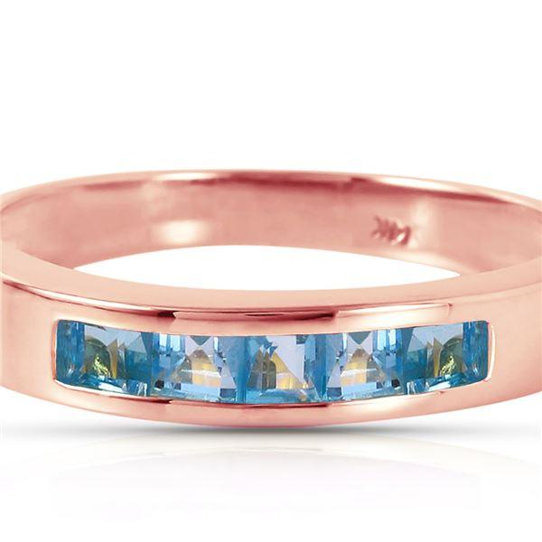 Genuine 0.60 ctw Blue Topaz Ring 14KT Rose Gold - REF-46X2M