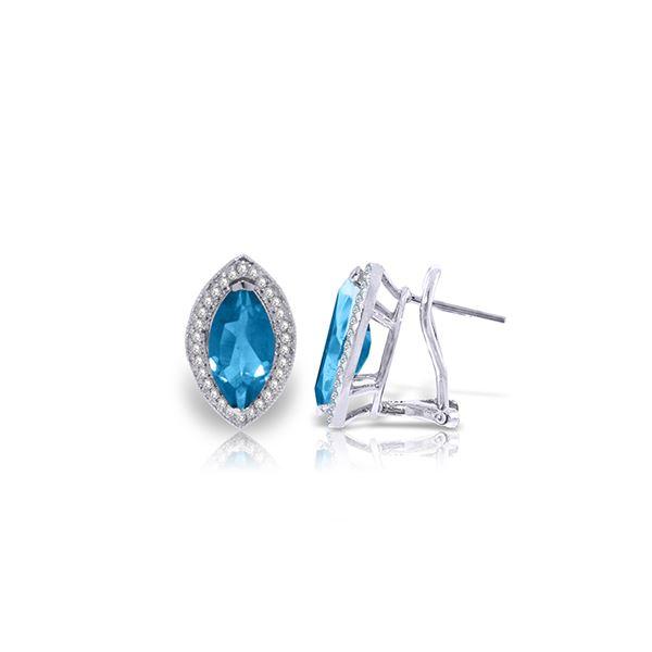 Genuine 4.8 ctw Blue Topaz & Diamond Earrings 14KT White Gold - REF-103Z3N