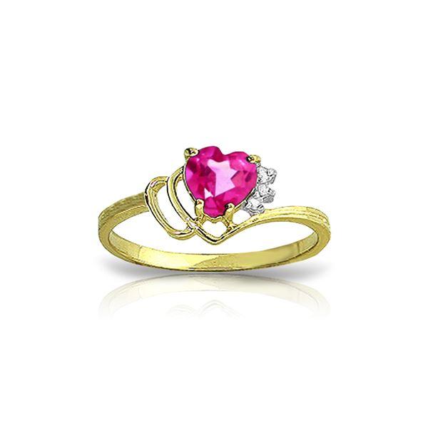 Genuine 0.97 ctw Pink Topaz & Diamond Ring 14KT Yellow Gold - REF-30W3Y