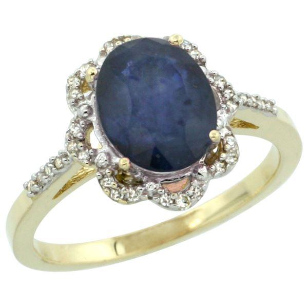 2.26 CTW Blue Sapphire & Diamond Ring 10K Yellow Gold - REF-53H5M