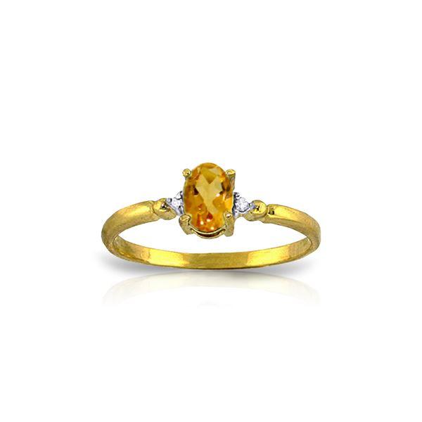 Genuine 0.46 ctw Citrine & Diamond Ring 14KT Yellow Gold - REF-27P3H