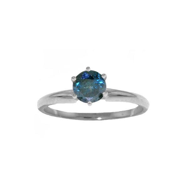 Genuine 0.50 ctw Blue Diamond Ring 14KT White Gold - REF-135P8H