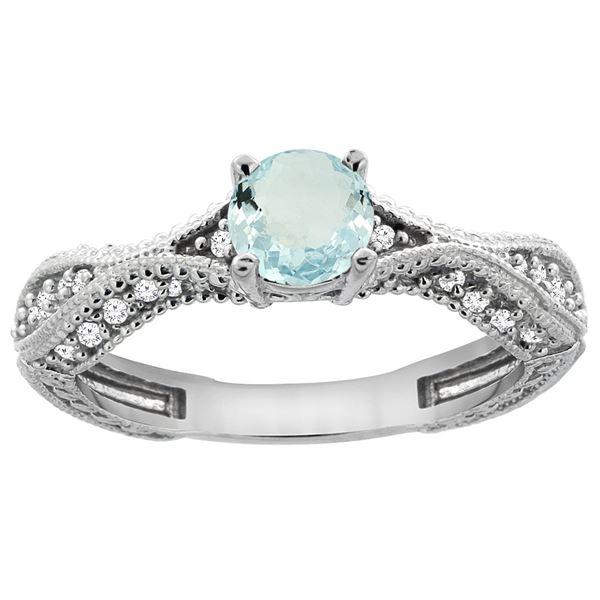 0.67 CTW Aquamarine & Diamond Ring 14K White Gold - REF-68A9X