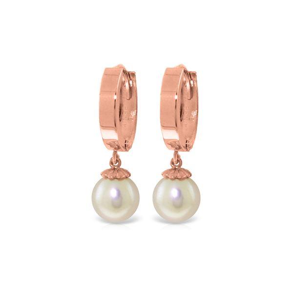 Genuine 4 ctw Pearl Earrings 14KT Rose Gold - REF-22P5H