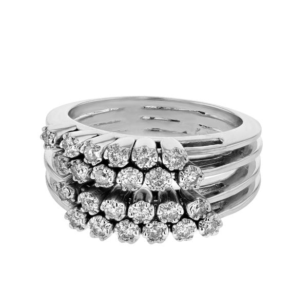 Natural 0.51 CTW Diamond Ring 18K White Gold - REF-163N8Y