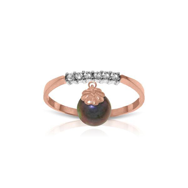 Genuine 2.1 ctw Black Pearl & Diamond Ring 14KT Rose Gold - REF-33N7R