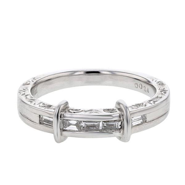 Natural 0.24 CTW Baguette Ring 14K White Gold - REF-49N5Y