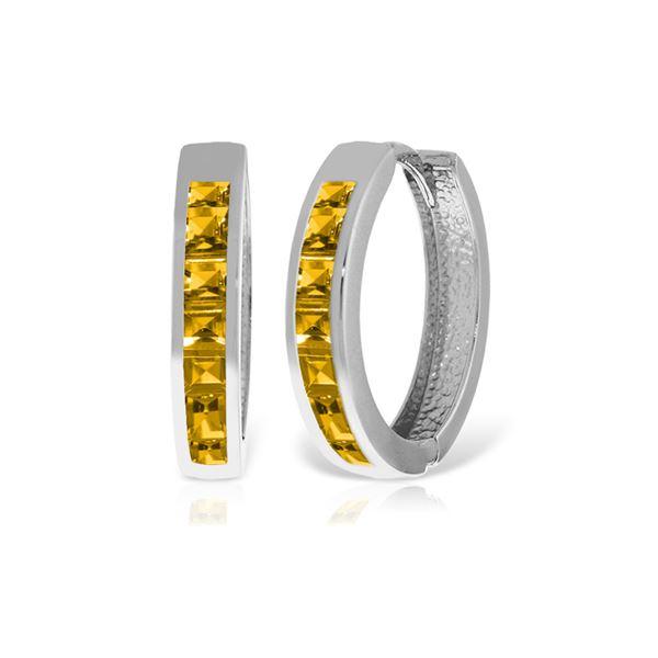 Genuine 1.20 ctw Citrine Earrings 14KT White Gold - REF-56A7K