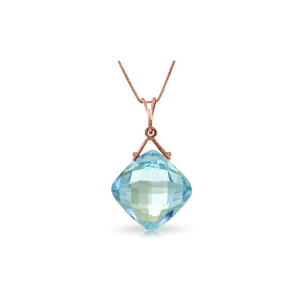 Genuine 8.75 ctw Blue Topaz Necklace 14KT Rose Gold - REF-21T4A
