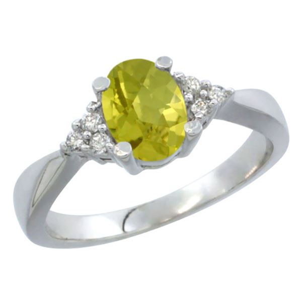 1.06 CTW Lemon Quartz & Diamond Ring 10K White Gold - REF-28A3X