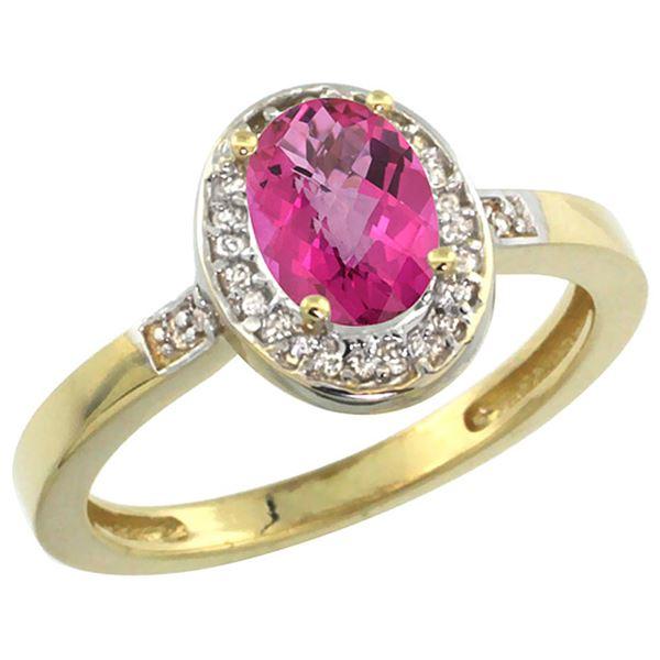 1.15 CTW Pink Topaz & Diamond Ring 14K Yellow Gold - REF-37F9N