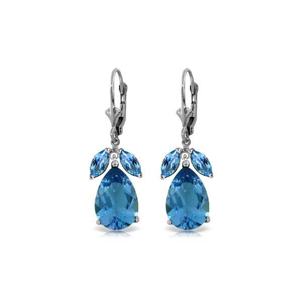 Genuine 13 ctw Blue Topaz Earrings 14KT White Gold - REF-61A2K