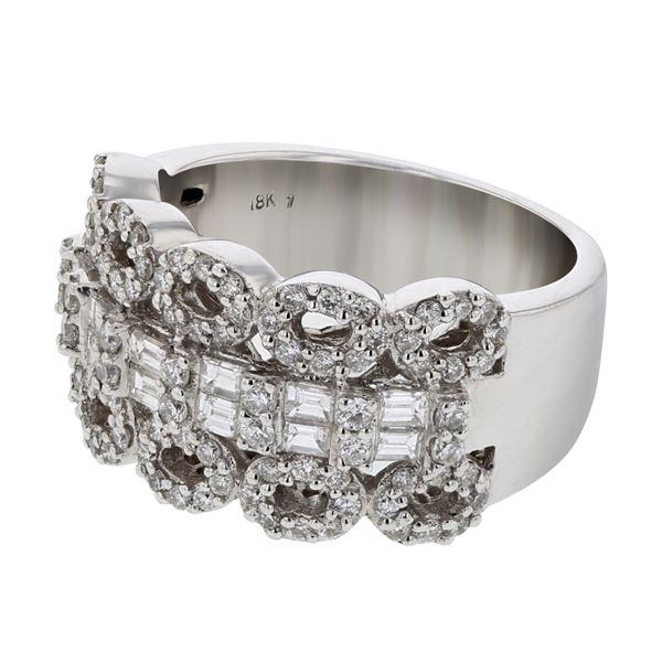 Natural 1.16 CTW Diamond & Baguette Ring 18K White Gold - REF-216F9M