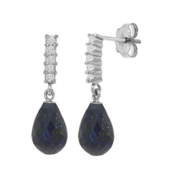 Genuine 6.75 ctw Sapphire & Diamond Earrings 14KT White Gold - REF-39W4Y