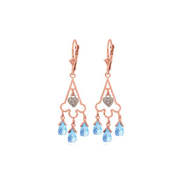 Genuine 4.83 ctw Blue Topaz & Diamond Earrings 14KT Rose Gold - REF-52R7P