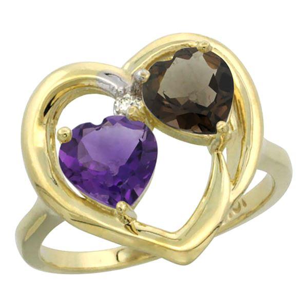 2.61 CTW Diamond, Amethyst & Quartz Ring 14K Yellow Gold - REF-33M9A