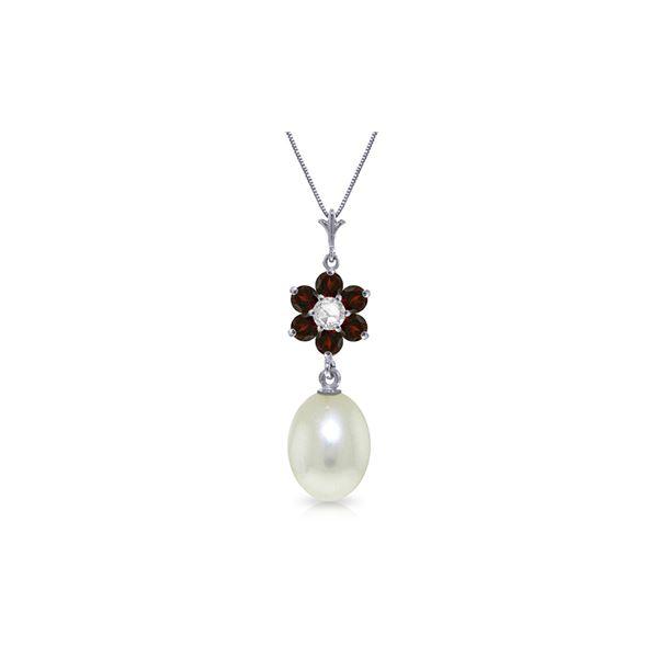 Genuine 4.53 ctw Pearl, Garnet & Diamond Necklace 14KT White Gold - REF-29M7T