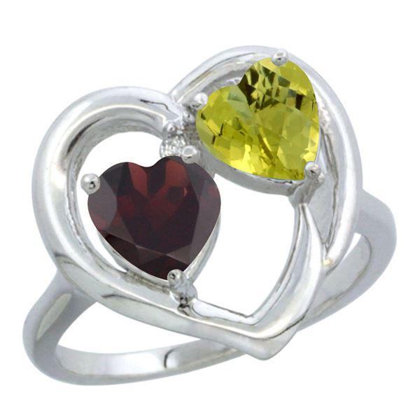 2.61 CTW Diamond, Garnet & Lemon Quartz Ring 14K White Gold - REF-33M5K