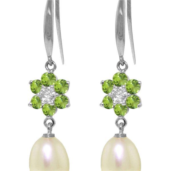 Genuine 9.01 ctw Peridot, Pearl & Diamond Earrings 14KT White Gold - REF-44V3W