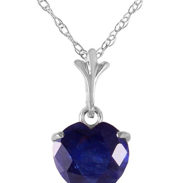 Genuine 1.55 ctw Sapphire Necklace 14KT White Gold - REF-20F9Z