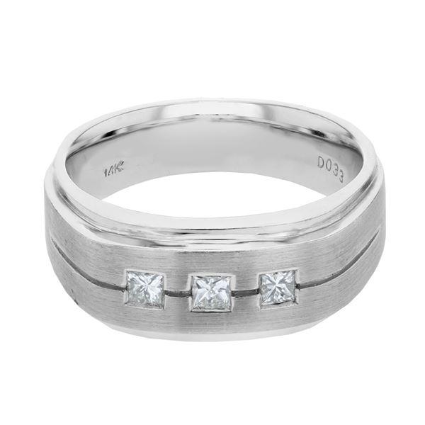 Natural 0.33 CTW Princess Diamond Ring 14K White Gold - REF-170T3X