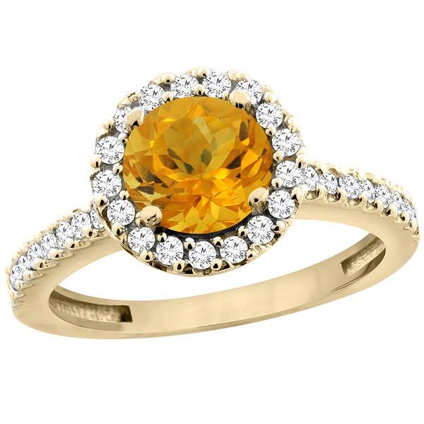 1.13 CTW Citrine & Diamond Ring 14K Yellow Gold - REF-60M5A