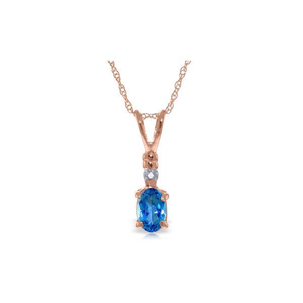Genuine 0.46 ctw Blue Topaz & Diamond Necklace 14KT Rose Gold - REF-21A6K