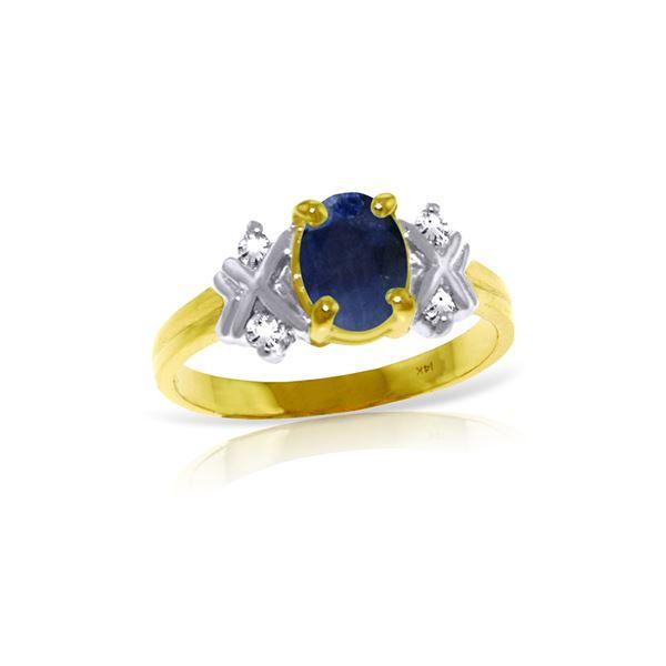 Genuine 1.47 ctw Sapphire & Diamond Ring 14KT Yellow Gold - REF-63X2M