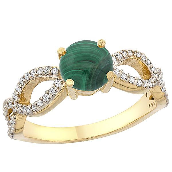 2.43 CTW Malachite & Diamond Ring 14K Yellow Gold - REF-49H5M