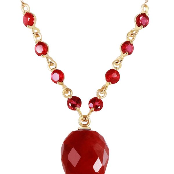 Genuine 14 ctw Ruby Necklace 14KT Yellow Gold - REF-42H2X
