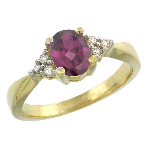 1.06 CTW Rhodolite & Diamond Ring 14K Yellow Gold - REF-36F7N