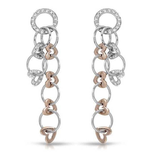 Natural 0.52 CTW Diamond Earrings 14K Two Tone Rose Gold - REF-99W9H