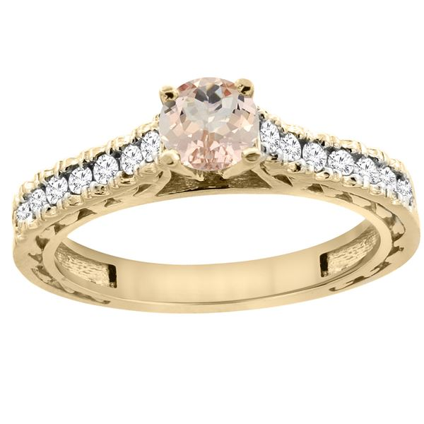 0.74 CTW Morganite & Diamond Ring 14K Yellow Gold - REF-63W8F