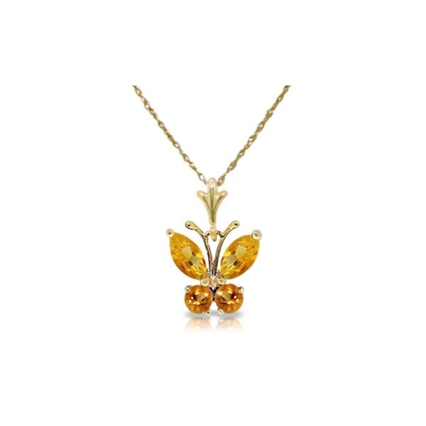 Genuine 0.60 ctw Citrine Necklace 14KT Yellow Gold - REF-23A5K